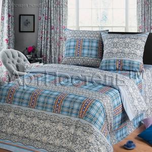Бязь набивная рисунок 4051-2 Венецианское кружево цвет голубой ширина 220 см
