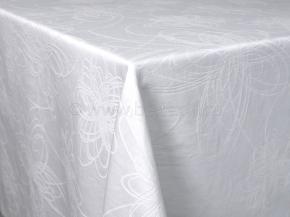 Ткань скатертная арт 14С7SHT Мирелла рисунок 003 цветок цвет 010101 белый, ширина 310 см