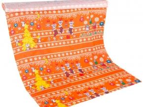 Вафельная -универсал В16(1481/2) Новогодние радости оранжевый, ширина 150см
