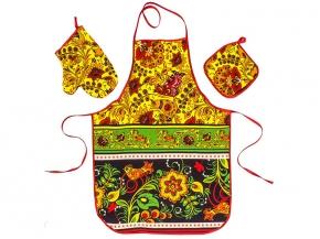 """Набор для кухни """"Хохлома"""" красный из 3-х предметов (фартук+рукавица+прихватка)"""
