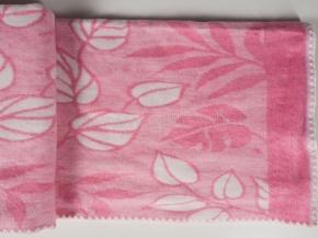 Одеяло п/шерсть 50% 140*205 жаккард Листья цв. розовый