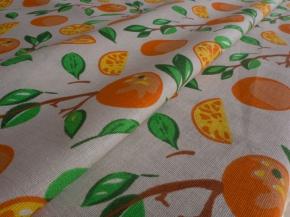 """Ткань бельевая арт 175448 п/лен п/вареный рис 5487/1 """"Апельсины"""", ширина 150см"""