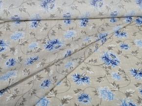 Ткань бельевая арт 7-17 п/лен грунт рис. Хризантемы синий, 220см