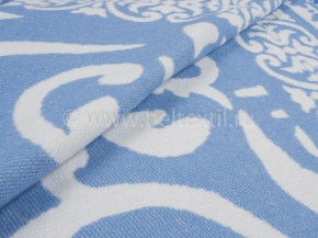 Одеяло хлопковое 140*205 жаккард  3/22 Завиток цвет голубой