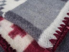 Одеяло п/шерсть 70% 170*205 жаккард цв. серый с бордо