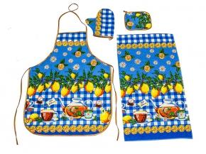 """Набор для кухни из 4-х предметов """"Лимоны"""" цвет синий (фартук+прихватка+полотенце+рукавица)"""