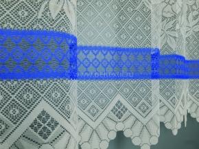 13с18-Г10 занавеска рис 2040 цв. белый с синим бордюром 1.45*2.00 м