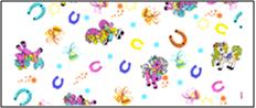 Фланель набивная детская б/з рис.1634/1 Счастливая подкова (Пони), ширина 150см