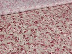 Ткань бельевая 17с-1ЯК п/лен набивной Петухи бело-красный на бежевом, 150см