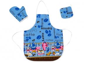 """Набор для кухни из 3-х предм. Рогожка """"Кофе""""цв. голубой  ( фартук+ рукавица+прихватка)"""