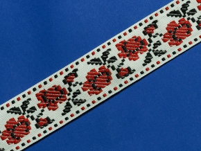 9868 ЛЕНТА ОТДЕЛОЧНАЯ ЖАККАРД цветы/бел, красн, черн. 34мм (рул.50м)