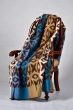 Одеяло п/шерсть 70% 170-205 жаккард коричневый с синим
