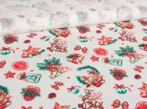 Ткань арт 186055 п/лен отб. наб рис 19-39/1 Рождественское настроение, ширина 150см