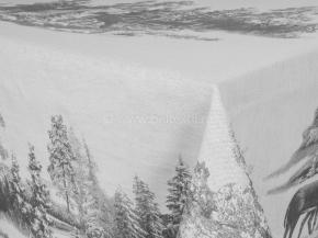 """07с-21 ЯК Скатерть 150*250  """"Зима в лесу"""" (олени) цв. серый"""