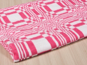 Одеяло байковое 100*140 клетка  цв. розовый