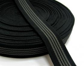 25мм. Резинка ткацкая/комби с латексом 25мм, черная (рул.20м)