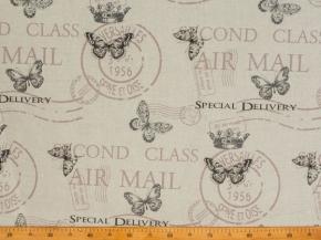 Ткань бельевая арт 175448 п/лен п/вареный набивной рис 14-16/1 Воздушная почта, ширина 150см