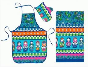 "Набор для кухни из 4-х предметов ""Матрешка""цв. синий ( фартук+ прихватка+полотенце + рукавица)"