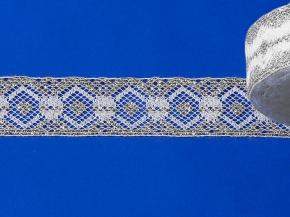 16С5-Г10-Л Кружево рис.1250 ш.30мм, белый/серебро (рул.50м)