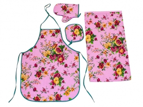 """Набор для кухни из 3-х предметов """"Цветы"""" розовый (фартук+полотенце+прихватка)"""