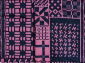 """Одеяло п/шерсть 15% 170*205  жаккард  """"Узор"""" цв.синий с розовым"""