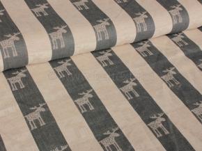 Ткань скатертная  арт. 101074 п/лен жаккард рис. 1x1147/3 Лоси маленькие, ширина 160см
