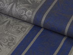 """Ткань скатертная арт. 6-14 кислованный жаккард """"Ландыш"""" Синий, ширина 150см"""
