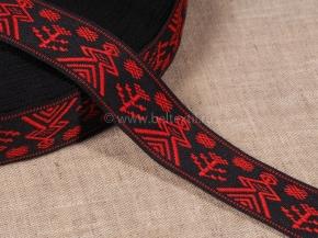 9875 ЛЕНТА ОТДЕЛОЧНАЯ ЖАККАРД черный с красным 27мм (рул.50м)