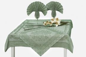 17с384-ШР/уп Комплект столовый 100*100 + 4 салфетки 48*48  Амулет цвет зеленый