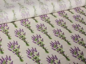 Ткань интерьерная 176099 п/лен отб набивной рис.19-91/1 Букет лаванды, 150см