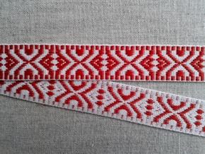 9587 ЛЕНТА ОТДЕЛОЧНАЯ белое с красным 19мм (рул.25м)