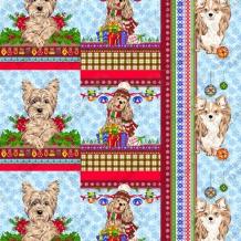 Вафельная -универсал В16 (0711/1) Новогодние собаки голубой, ширина 150см