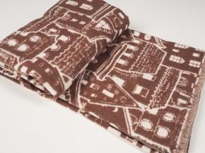 """Одеяло хлопковое 170*205 жаккард  6 """"Домики"""" цв.коричневый"""