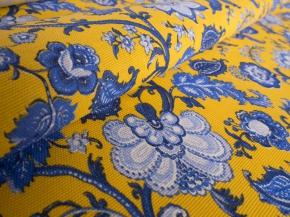 Ткань сувенирная Саржа набивная рисунок Узор 561/3 желтый  ширина 150 см