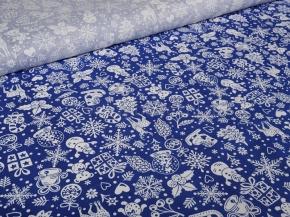 Ткань бельевая 17с-1ЯК п/л наб. Новогодняя на синем 150см
