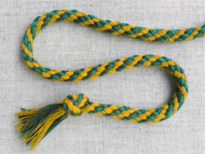 ШХ8-007-4/14 Шнур, D-7мм, х/б 100%, желтый/бирюза