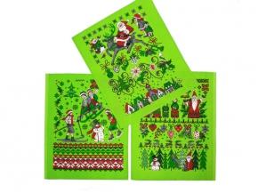 """Полотенце вафельное """"Новогодняя сказка"""" купон зеленый 45*60"""