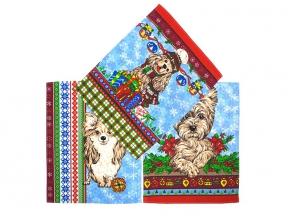 """Полотенце вафельное """"Новогодние собаки"""" купон голубой 45*60"""
