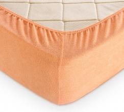 Простыня махровая на резинке 140*200*30 цвет персиковый