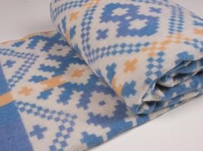 Одеяло п/шерсть 70% 140*205 жаккард  цв. голубой с желтым