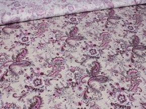 Ткань бельевая 17с-1ЯК п/л набивной Огурцы розовые на бежевом, ширина 150см