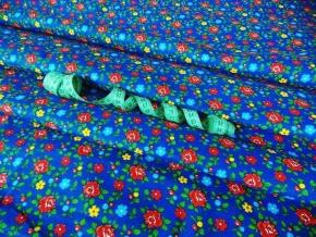 Бязь набивная плательная рис. 8107-5 Цветы на синем, ширина 150см