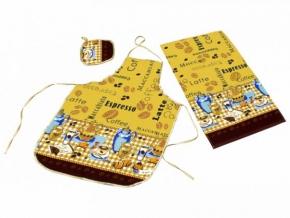 """Набор для кухни """"Кофе"""" желтый из 4-х предметов (фартук+рукавица+прихватка+полотенце)"""