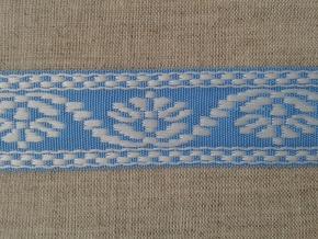 9567 ЛЕНТА ОТДЕЛОЧНАЯ ЖАККАРД белый с голубым 26мм (рул.25м)