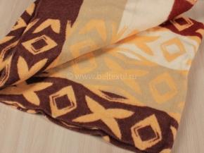 Одеяло п/шерсть 70% 140-205  жаккард  цв .бордо с желтым