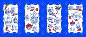 Набивное вафельное полотно рисунок Гжель посуда 550/2 синий  ширина 150 см