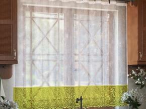 м443А ЗАНАВЕСКА белый с оливковым 1.45 м*2.40 м