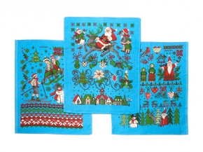 """Полотенце вафельное """"Новогодняя сказка"""" купон голубой 45*60"""