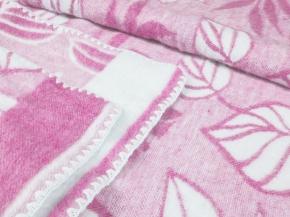 Одеяло п/шерсть 50% 170*205 жаккард  Листья цв. розовый