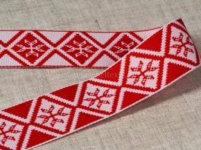 90073 ЛЕНТА ОТДЕЛОЧНАЯ ЖАККАРДОВАЯ белый с красным (символ матери) 32 мм (рул.25м)
